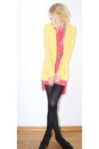 drop hem Primark dress - Mango blazer - stone H&M necklace - kitten heels Primar