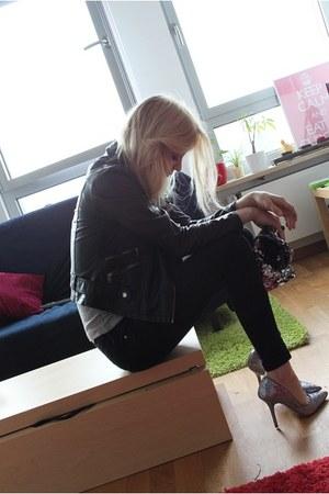 glitter Zara heels - H&M jeans - pu black Primark jacket