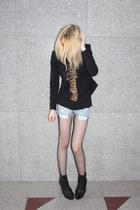 fishnet c&a tights - platform Topshop boots - black H&M blazer