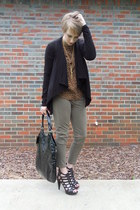 leather RoseGold heels - patent leather YSL bag - moto JCrew pants