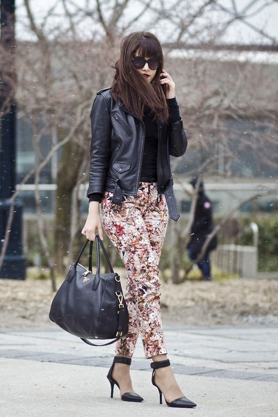 leather biker H&M jacket - Prada bag - floral print Zara pants