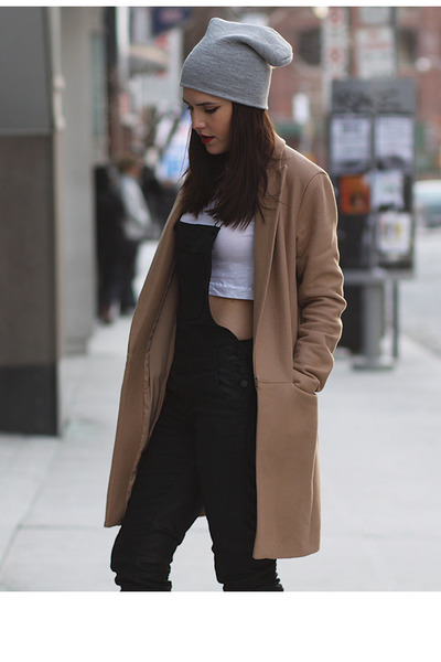 side-zip Express boots - camel Theory coat - beanie Aldo hat - crop Zara top