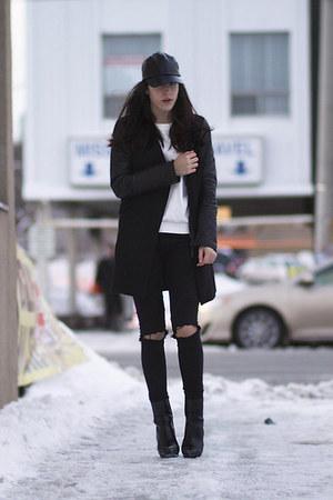 leather sleeve Mackage coat - platform Zara boots - H&M pants