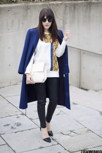 asymmetric Zara bag - Alexander Wang heels - Zara sweatshirt - leather H&M pants