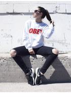roshe run nike sneakers - obey sweatshirt