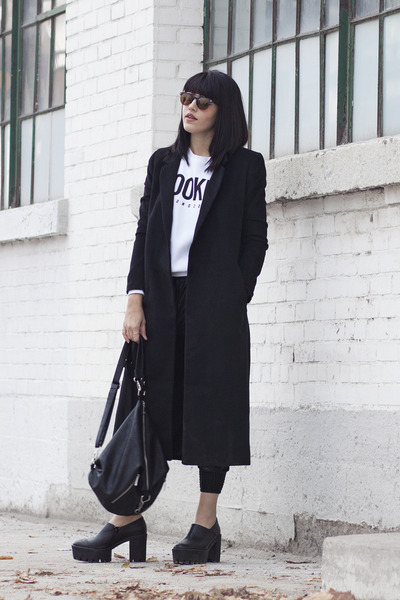tread tony bianco shoes - long Forever 21 coat - graphic Aritzia sweatshirt
