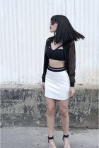 mesh AKA Clothing jacket - neoprene Topshop skirt - criss-cross Titika bra