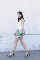 colourblock H&M bag - striped H&M skirt - leather Zara sandals