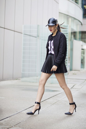 pleated leather H&M skirt - le chateau hat - Topshop jacket - 98 Boohoo shirt