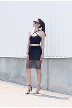crossover Forever 21 top - net Forever 21 skirt - basic Zara heels