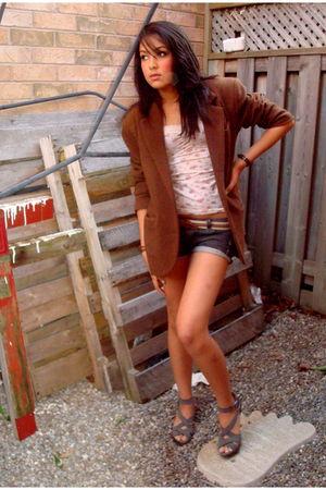 brown Jacob blazer - beige Forever 21 shirt - gray urban behavior shorts - beige