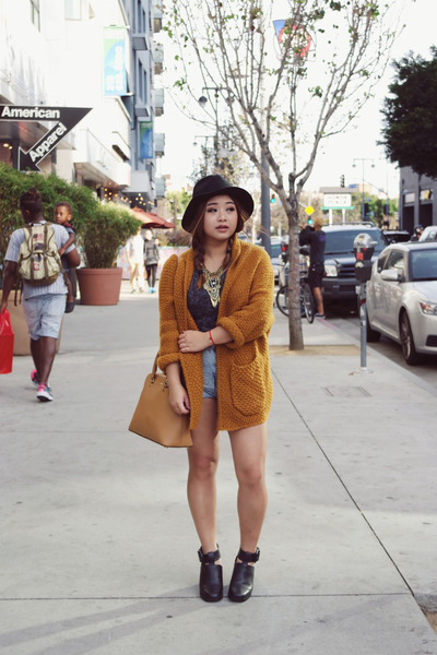 knitted Yesstyle cardigan - leather Shellys London boots - Topshop shorts