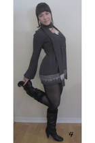 black Chinatown boots - charcoal gray sears sweater - white The Candy Shoppe nec