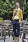 Mustard-thrifted-blazer-navy-mango-pants-tan-parisian-shoes