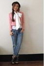 White-thrifted-shirt-pink-simones-closet-blazer-jeans-black-parisian-shoes