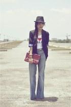 sky blue Topshop jeans - black Topshop blazer - maroon vintage purse