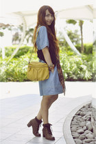sky blue Simones Closet dress - brown Wanted boots - mustard Ferretti bag