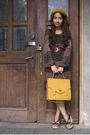 Thrifted-dress-thrifted-shoes-yellow-forever-21-hat-yellow-gold-dot-bag