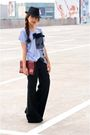 Blue-simones-closet-top-black-thrifted-pants-red-vintage-purse-black-mens-