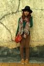 Mustard-ferretti-shoes-brown-jeans-black-f21-hat-green-zara-sweater