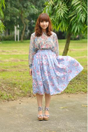 pink vintage blouse - sky blue vintage skirt - wedges
