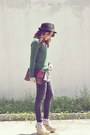White-striped-vintage-shirt-giordano-jeans-black-hat-green-zara-sweater
