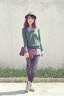 Giordano-jeans-black-hat-green-zara-sweater-white-striped-vintage-shirt