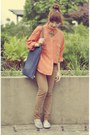 Brown-thrifted-jeans-orange-etam-shirt-blue-thrifted-bag