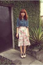 skirt - blue denim shirt - black purse - beige clogs