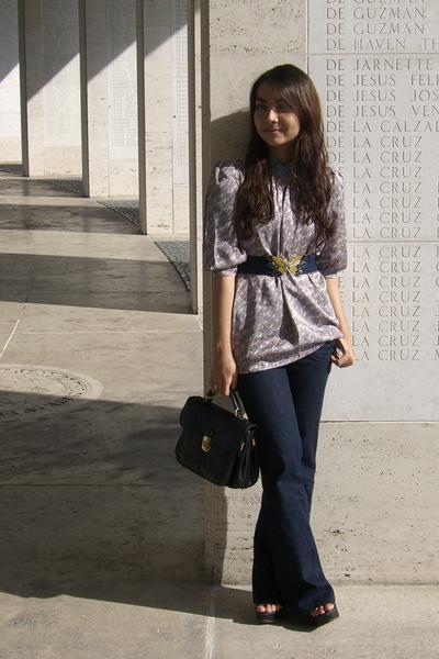 vintage printed blouse - topshop wide-leg jeans - vintage butterfly belt - vinta