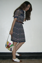 blue thrifted dress - white vintage shoes - brown thrifted belt - gray fab manil