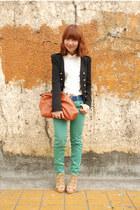 aquamarine Zara jeans - black blazer - brown purse - tan heels - white blouse