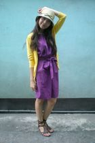 purple get laud dress - yellow thrifted cardigan - brown thrifted shoes - beige