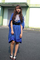 blue moms dress - white moms scarf - black ilaya shoes