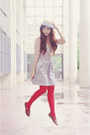 Brown-hebe-manila-shoes-beige-boater-hat-silver-mango-skirt