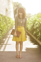 yellow KOB skirt - brick red purse - brown flats - leopard cardigan