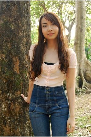 pink grlfrndz blouse - Topshop jeans - white vintage shoes