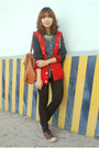 Red-jacket-black-jeans-blue-shirt-brown-bag-purple-sneakers