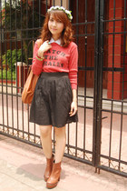 brown boots - red sweater - brown bag - black skirt