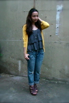 thrifted ruffled blouse - thrifted sweater - from hongkong jeans - SM Dept Store