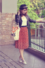Silver-shoes-black-jacket-burnt-orange-trunk-show-skirt