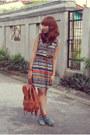 Sky-blue-so-fab-boots-orange-aztec-print-shopaholic-dress-brown-bag