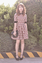 Custom-made dress - vintage purse - heels