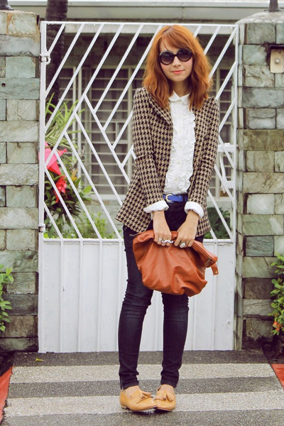 brown houndstooth blazer - giordano jeans - tawny purse - tan Primadonna loafers