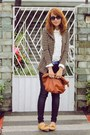 Giordano-jeans-brown-houndstooth-blazer-tawny-purse-tan-primadonna-loafers