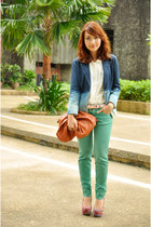 blue blazer - brown purse - green Zara pants - pink tribal Primadonna wedges