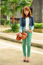 blue blazer - brown purse - green Zara pants - pink tribal Primadonna wedges