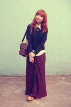 maroon skirt - navy Forever 21 sweater - white Club Monaco shirt