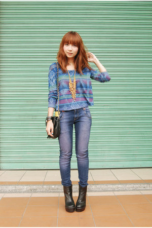blue Forever 21 shirt - black boots - purple jeans - gold accessories