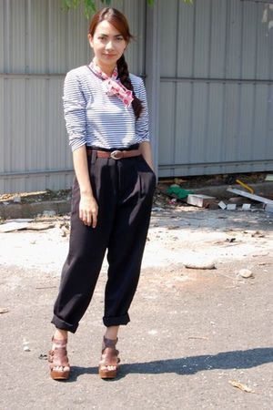 white thrifted shirt - black thrifted pants - thrifted scarf - brown thrifted be
